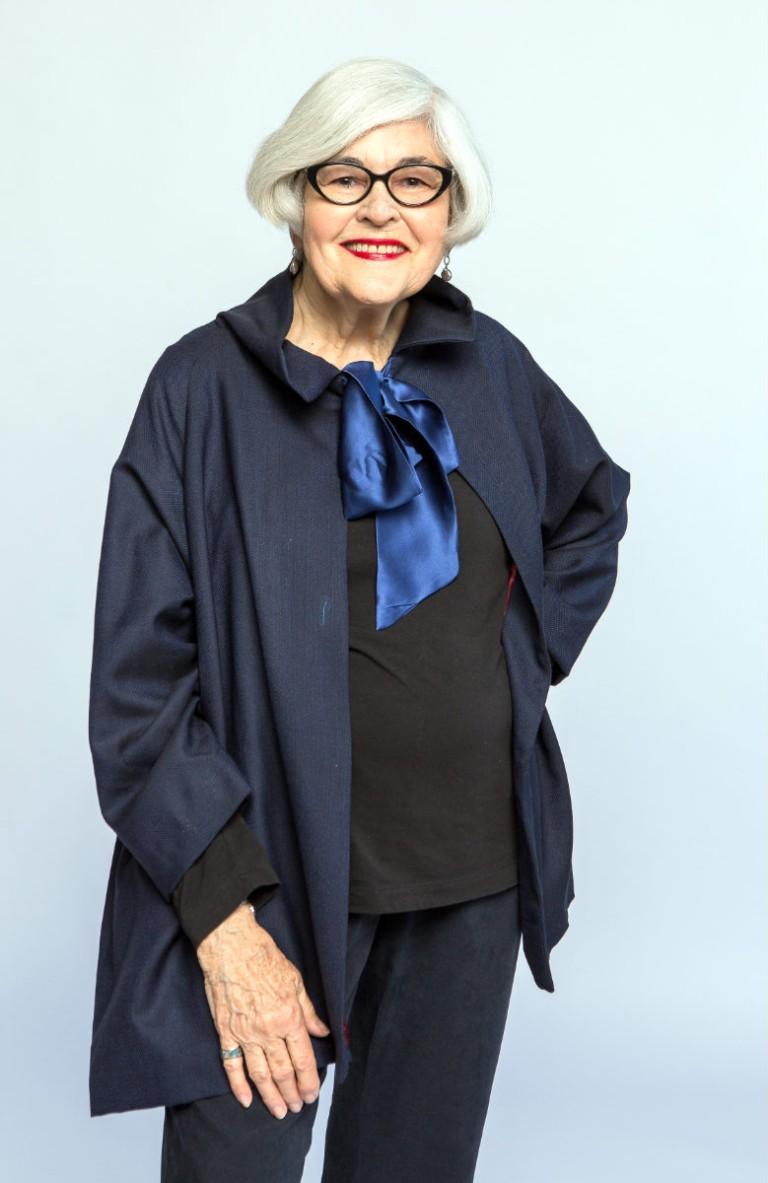Lucille in a wool artist jacket